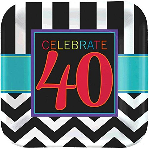 Must-Have Chevron and Stripes 40th Birthday Party Square Luncheon Plates Tableware, Pack of 8, Multi , 9