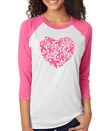 Breast Cancer Awareness Heart - SignatureTshirts Women's Breast Cancer Awareness Heart Heart Baseball Raglan Heather/Pink XL