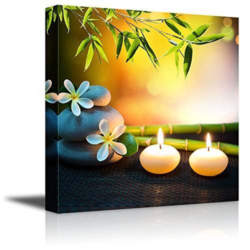 Wall26 Relaxing Spa with Zen Stones Burning Candles and Fresh Bamboo – Canvas Art Wall Decor – 16 x 16