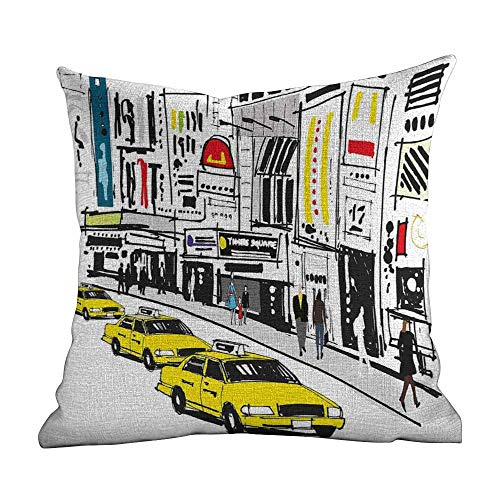 Matt Flowe Decorative Pillow Covers,Modern,Times Square New York with People in Street Taxi Cabs Traffic Fashion Illustration,Multicolor,Apply to Sofa office14 x14