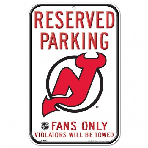 NHL Authentic Reserved Parking Sign, 12 x 18 Inch - New Jersey Devils - - Parking 18 Nhl Inch Sign