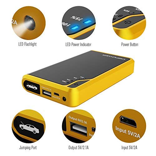Ultra Compact DBPOWER 300A Peak 8000mAh Portable Car Jump Starter (Only for Gas Engine up to 2.5L) Auto Battery Booster Charger Portable Phone Charger Built-in LED Flashlight (Yellow)