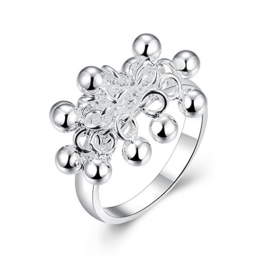 Romantic Fate Silver Plated Fashion Fruit Grape Shape Lover Pretty Finger Ring Wife Gift 8# (Tilt Womens Ring)