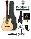 Kadence Frontier Series, Natural Acoustic Guitar Super Combo Foldable Guitar Stand,Tuner,Capo,Bag,strap,strings and 3 picks