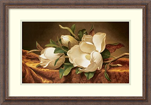 (Framed Wall Art Print | Home Wall Decor Art Prints | Magnolias on Gold Velvet Cloth by Martin Johnson Heade | Country Rustic)