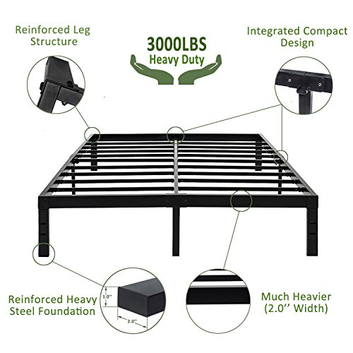 45Min 14 Inch Platform Bed Frame/Easy Assembly Mattress Foundation/3000lbs Heavy Duty Steel Slat/Noise Free/No Box Spring Needed, King/Twin (King)