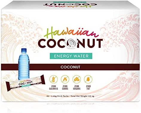 New Hawaiian Coconut Water Powder w/Energy 60 Packets (Natural Post- and Pre-Workout Energy Drink Powder Mix) (60)