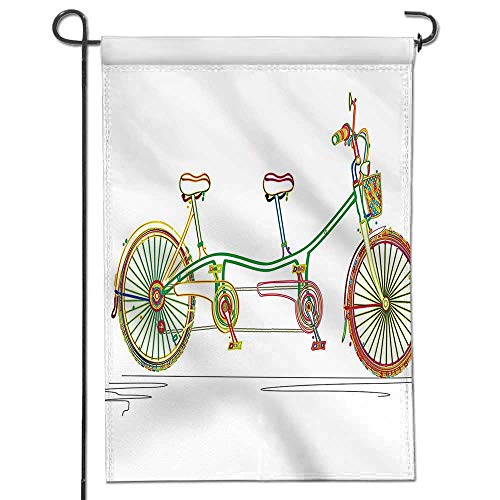 icycle Design on White Background Pattern Clipart Style Print Multicolor Holiday Decoration Double Sided Flag ()