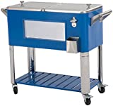 Sunjoy 80 Qt Patio Cooler with LED Lights-Blue, Blue
