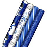 Hallmark Christmas Paper with Cut Lines on Reverse (4 Rolls: 120 sq. ft. TTL) Gift Wrap, Quad-Pack, Blue Holiday