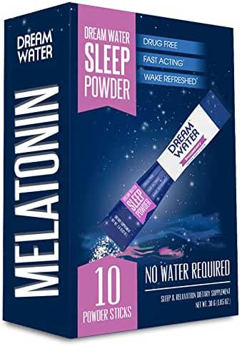 Dream Water Sleep Powder, Natural Sleep Aid, GABA, Melatonin, 5-HTP, Snoozeberry, 10 Count, Top Rated