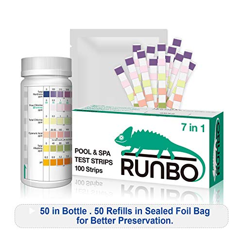 RUNBO 7 in 1 Pool & SPA Quality Testing Strips Easy and Accurate Test Free Chlorine, Total Chlorine, Bromine, Total Hardness, Total Alkalinity, pH and Cyanuric Acid. 100 Counts.