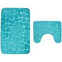 Pauwer - Ensemble de tapis de bain antidérapants - 2pièces - Tapis de bain et contour de WC pour salle de bain - Lavable en machine