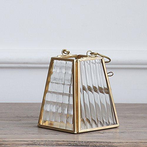 Cyl Home Candle Lanterns Textured Clear Crystal Glass Bronze Brass Frame Hanging Hurricane Tea Light Holder Lamp Centerpiece Decor Accent Gift Wedding Housewarming Tea Party, 3.9'' H x 3.5'' D