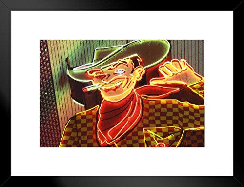 - Poster Foundry Vintage Neon Cowboy Sign Las Vegas Nevada Photo Art Print Matted Framed Wall Art 26x20 inch