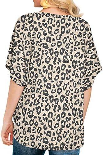 IWOLLENCE Womens Waffle Knit Tunic Blouse Tie Knot Short Sleeve Henley Tops Loose Fitting Bat Wing Shirts