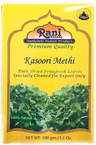 Rani Fenugreek Leaves Dried, All Natural (Kasoori Methi) 100g (3.5oz) ~ Gluten Free Ingredients   NON-GMO ~ Vegan