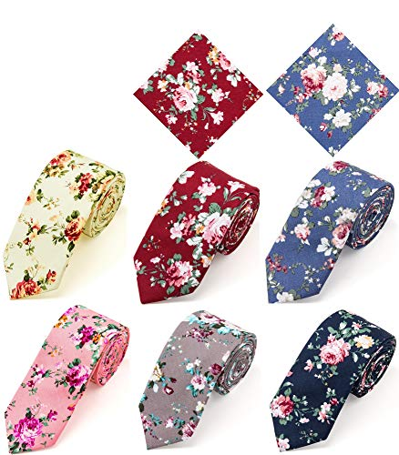 Elzama 8-pc Cotton Skinny Floral Print Tie Pocket Square Set for Special Event, Party, Wedding