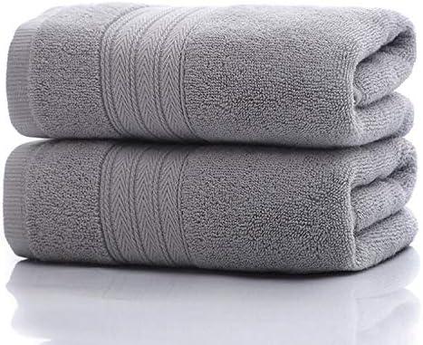 Toalla,Juego de toallas Toallas absorbentes suaves de algodón 2 de la mano para el viaje casero Playa del deporte (amarillo, gris)