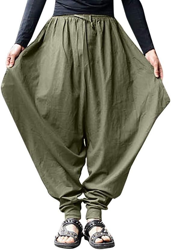 PARVAL Pantalones Retro gitanos para Hombres Pantalones Harem de ...