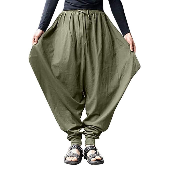 jetzt kaufen ungeschlagen x neueste kaufen Pottoa Herren Haremshosen, Männer Baumwolle Leinen Lange Hosen Festival  Baggy Harem Hose Weites Bein Hose Retro Gypsy Pants