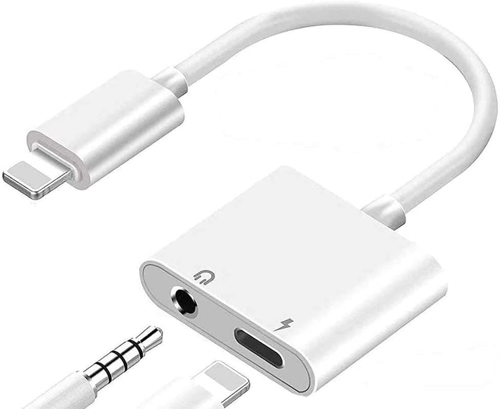 (Apple MFi Certified) Headphone Splitter Lightning to 3.5mm Jack Adapter 2 in 1 Charger Accessories Cables & Audio Connector Earphone Splitter Adaptor Compatible for iPhone Xs/XR/ 8/8 P/X / 7& All iOS