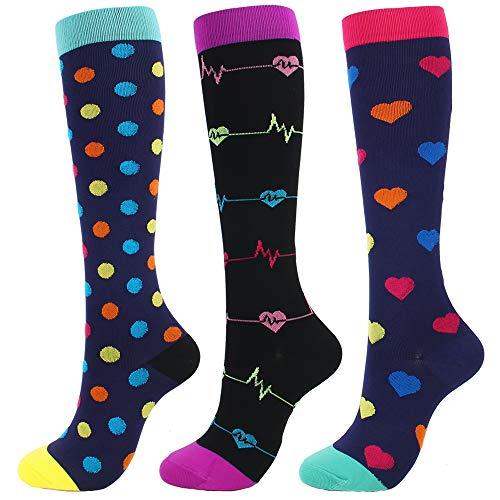 MODA CICI 3 Pairs Compression Socks for Women & Men 20-30 mmHg Best Graduated Athletic Sports Stockings for Running,Nurses,Flight Travel,Maternity Pregnancy (3 Pairs(Black/Blue), L/XL) ()