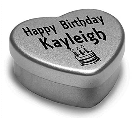 Happy Birthday Kayleigh Mini Heart Tin Gift Present For Kayleigh WIth Chocolates