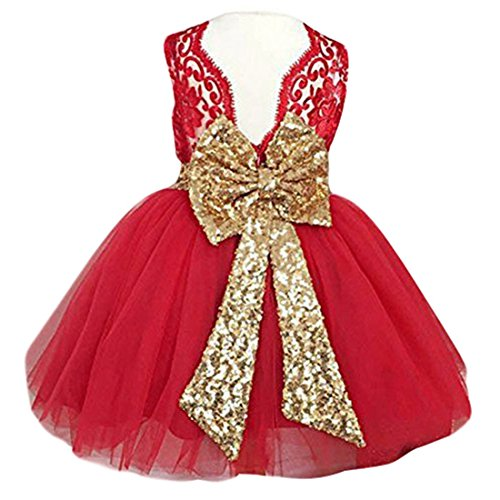 EsTong Newborn Baby Girls Sequins Bowknot Floral Princess Dresses Tulle Tutu Outfit Clothes Red 0-1Y ()