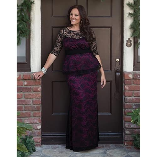 6d20885ce2c Kiyonna Women s Plus Size Astoria Lace Peplum Gown 85%OFF ...