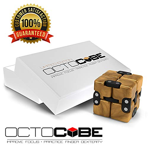 - OCTOCUBE Infinity Cube Fidget Toy w/Gift Box - Luxury Infinite Cool Gadget for Kids, Adults - Prime Sensory Stress Relief, Pressure Reduction Unique Distraction - Gold Glossy Ldt.