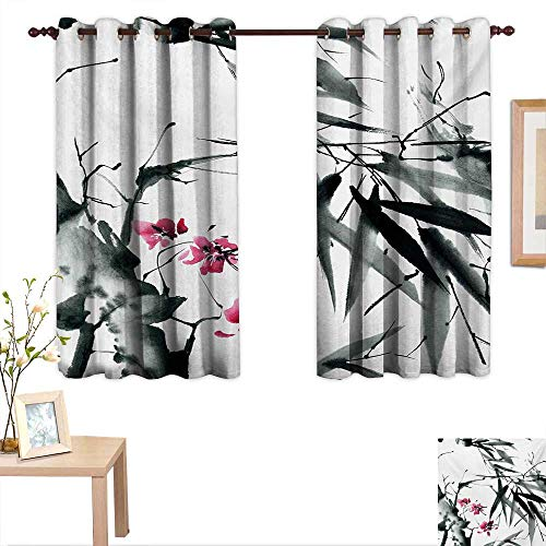 MartinDecor Japanese Blackout Draperies for Bedroom Natural Sacred Bamboo Stems Cherry Blossom Japanese Inspired Folk Print 55