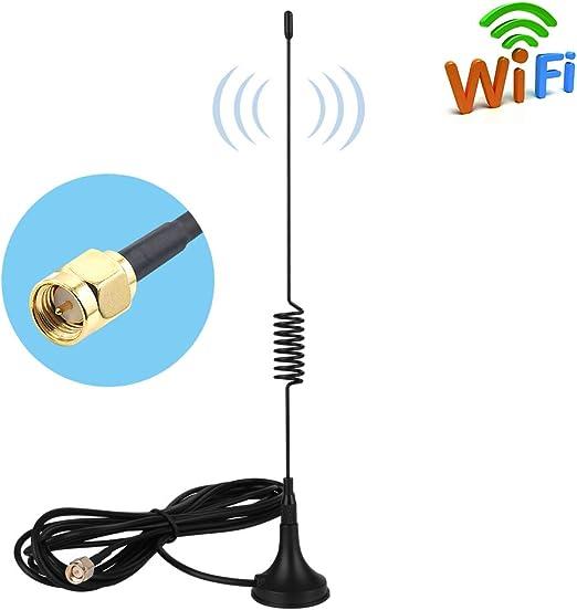 Aigital Antena SMA 10dBi 4G LTE Antena Omni Direccional Wifi Antena 2G/3G/GSM con base magnética y cable de extensión RG174 de 3M para router 4G módem ...