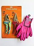 Pink Hand Pruner Set and Gardening Gloves Bundle