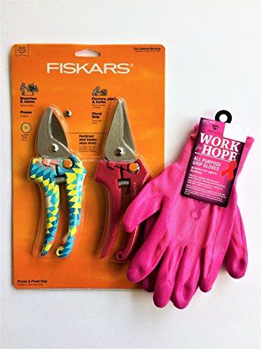 Pink Hand Pruner Set and Gardening Gloves Bundle by Bundled brands