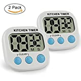 IEKA Digital Kitchen Timer,Minute Second Count Up Countdown,Digital Loud Alarm Timer with Large LCD Display and Premium Magnetic Backing(2 Pack,White)