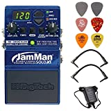 Digitech JMSXT Jamman Solo XT Stereo Looper Phrase Sampler Pedal Bundle w/Power Supply, 2 Patch Cables and 6 Assorted Dunlop Picks
