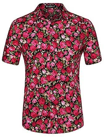 uxcell Men Short Sleeve Button Front Floral Print Cotton Beach Hawaiian Shirt Black Flower S (US 34)