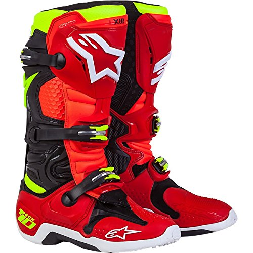 Alpinestars LE Torch Tech 10 Men's Off-Road Motorcycle Boots - Black/Red/Yellow / 9 by Alpinestars