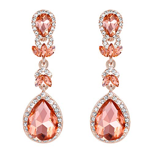 BriLove Wedding Bridal Dangle Earrings for Women Crystal Marquise Leaf Teardrop Chandelier Earrings Peach Morganite Color Rose-Gold-Toned
