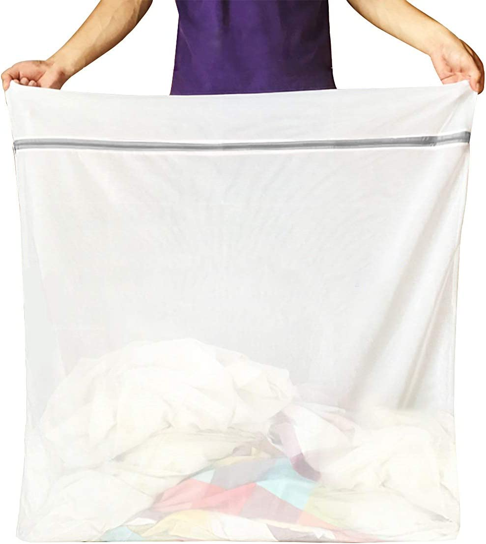 Runtoo 36 x 36 inches Extra Large Laundry Bag Delicates Wash Bags Camp Travel Heavy Duty Zipper Big Net Sweater Curtain Bedding Robes Blanket Jumbo Toys Organizer (Fine)