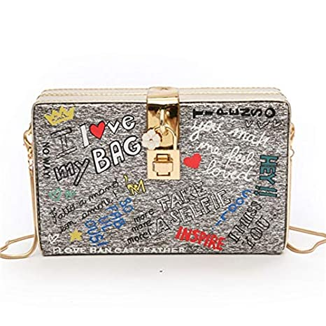 Image Unavailable. Image not available for. Color  DingXiong 2018 Women s  Chain Shoulder Crossbody Bag Graffiti Leisure Fashion Letters Square Trendy  ... 639130c0b6