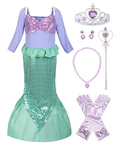 ReliBeauty Girls Ariel Dress Sequins Little Mermaid Costume with Accessories, 6-6X/130 -