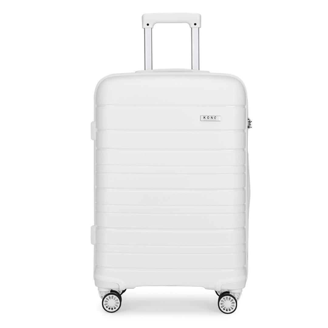Black, 65cm 66L Kono Lightweight Polypropylene Medium Check in Luggage with 4 Spinner Wheels TSA Lock YKK Zipper Hard Shell Travel Trolley Suitcase