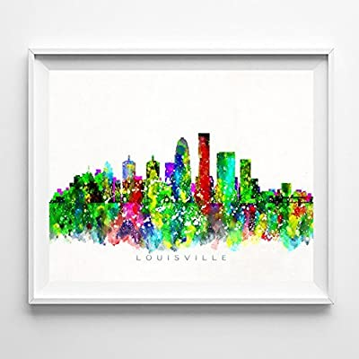 Louisville Kentucky Watercolor Skyline Wall Art Home Decor Poster UNFRAMED