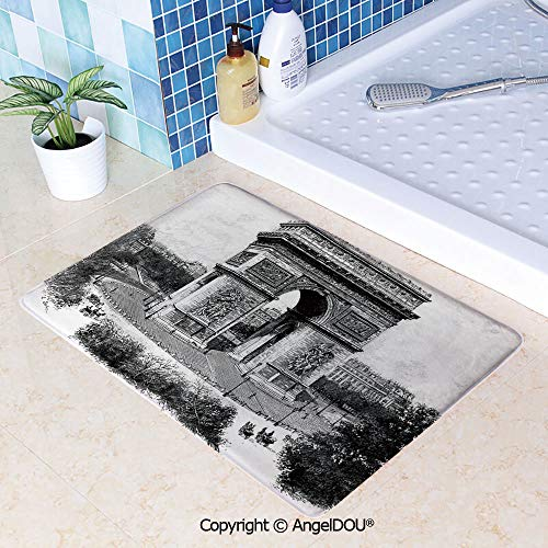 SCOXIXI Living Room Bedroom Carpet Thicken Non-Slip Mat Old Photo of Auguste Vitu Monument in Paris French Heritage Retro Picture for Home Hotel Cafe Restaurant Area Rugs.W15.7xL23.6(inch)