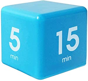 Merssavo Cube Timer,5, 15, 30 and 60 Minutes,for Time Management, Kitchen Timer, Kids Timer, Workout Timer, Blue