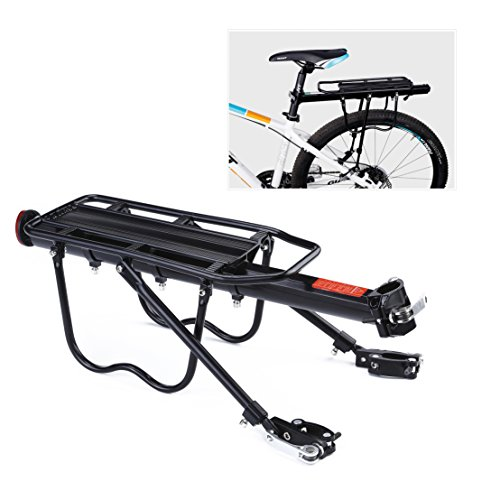 YAHILL Adjustable Universal Bike Rear Rack Quick Release Holder Seatpost, Bicycle Carrier with Max Capacity of 165LB (Black/B type- Fully Quick Release) Type Seatpost