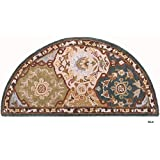 D&H Indoor Blue Beige Floral Hearth Rug Fireplace Carpet, Flower Themed Half Moon Circle Mat, Use at Cabin Lodge Cottage Country Southwestern, Hand Tufted Wool Pad Ornamental Pattern, 2 ft by 4 ft