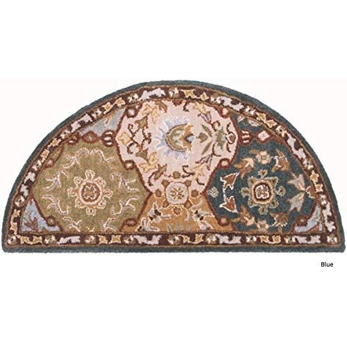 - D&H Indoor Blue Beige Floral Hearth Rug Fireplace Carpet, Flower Themed Half Moon Circle Mat, Use at Cabin Lodge Cottage Country Southwestern, Hand Tufted Wool Pad Ornamental Pattern, 2 ft by 4 ft